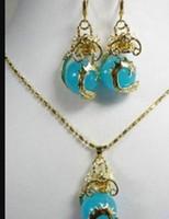Wholesale beautiful copper pendants resale online - jewelry hot sell new Jewelry Beautiful Jade Dragon Pendant Necklace Earrings
