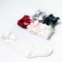 tubo de princesa de algodón al por mayor-5 colores niños calcetines deportivos niñas arco de algodón de moda de lujo calcetines de diseñador del tubo del bebé princesa larga ropa de baile ropa calcetín