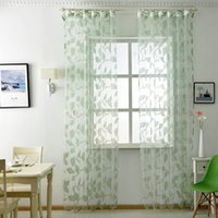 ткань тюль оптовых-1 piece Free shipping Kitchen leaf transparent design sheer curtains tulle modern door sheer window thin curtain fabrics Organza
