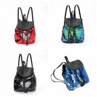 Wholesale sequin bag clothing online - Sequin Drawstring Backpack Magic Reversible Paillette Mermaid Sequin bag Women Fashion Outdoor bags glitter shoulder Bags GGA1482