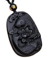 чудесные украшения оптовых-Замечательный Настоящий Натуральный обсидиан черный резной рыбий цветок кулон повезло бесплатно ожерелье благословение подвески ювелирные изделия
