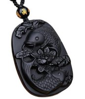 Wholesale carved jade animals resale online - Wonderful Real Natural obsidian black carved fish flower pendant lucky free necklace blessing pendants fashion jewelry