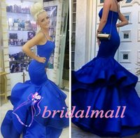 Wholesale sexy purple celebrity mermaid dress for sale - Spaghetti Royal Blue Satin Mermaid Prom Dresses Tiered Skirts African Pageant Party Gowns Elegant Gala Evening Dress Celebrity Cheap