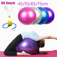 Wholesale pilates exercise balls for sale - Group buy US stock cm Yoga Balls Sports Fitness Balls Bola Pilates Gym Sport Fitball With Pump Exercise Pilates Workout Massage Ball FY8051