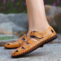 мужские кожаные сандалии оптовых-POLALI Men's Retro Casual Cow Genuine Leather Shoes Sandals Soft Cool Beach Summer Pigskin Hook Loop Size 38-47 XLD-99006