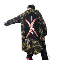 Wholesale designed cloak online - Autumn Casual Camouflage Men Clothing Hooded Trench Coat Long Loose Army Green Windbreaker Patch Designs Leisure Cloak Outerwear