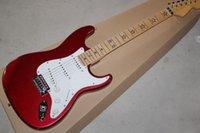 электрическая гитара оптовых-заводская гитара Металлическая красная электрогитара со звездами Fret Inlay, белый накладка, гриф из клена, хромированная фурнитура, могут быть настроены