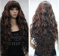 perucas ruivas longas encaracoladas vermelhas venda por atacado-FREE SHIPPIN + ++ + + Red Black MULHERES COMPLETA COMPRA Peruca Livre Mix Auburn Long Curly ca