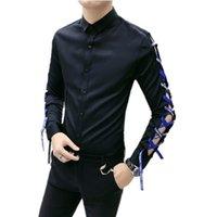 Wholesale japan dresses sleeves online - Chemise Homme Slim Fit Shirt Japan Ribbon Hollow Out Design Men Long Sleeve Shirts Man Camisas Hombre Social Dress Shirt Blouse