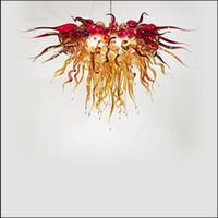 arañas de comedor de china al por mayor-China Proveedor Mano Lámparas de Cristal Soplado Iluminaciones Flor Diseñado Hecho A Mano Luces Colgantes de Vidrio Soplado para Comedor Decoración