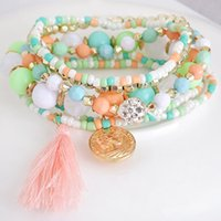 Wholesale candy beads jewelry resale online - HOCOLE Woman Jewelry Fashion Bohemia Style Multilayer Metal Bracelet Candy Colorful Beads Coin Tassel Bracelets mujer pulseras