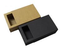 embalagem de gravata borboleta venda por atacado-14 * 7 * 3 cm Preto Bege Gaveta Do Presente Da Caixa de Embalagem Bow Tie Embalagem de Papel Kraft Papelão Caixas De Papelão