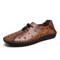 deri noktalar toptan satış-Erkekler Casual Ayakkabı Dot içi boş Nefes El Yapımı Deri Ayakkabı