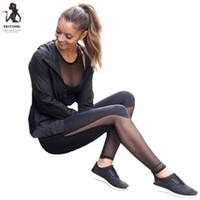 calças de ioga pura venda por atacado-Mulheres de Fitness Leggings Cintura Alta Malha Patchwork Leggings Skinny Push Up Calças Pura perspectiva costura esportes yoga calças # 278499