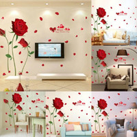 модные наклейки на стену оптовых-Valentine's Day Red Rose Wall Decal Mural Removable Flowers Stickers  Art DIY Romantic Home Decoration New Fashionable