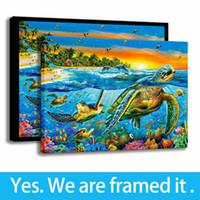 ingrosso paesaggistica familiare-The Turtle Family Art Landscape Animali Stampa Decorazioni per la camera da letto Pittura su tela Arte con cornice - Pronti per essere appeso - Personalizzazione del supporto
