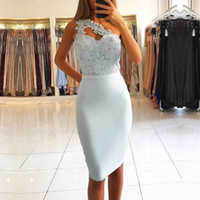 Wholesale gold top custom online - Light Sky Blue Sexy One Shoulder Short Prom Dresses Lace Top Sheath Knee Length Short Cocktail Party Gowns Evening Dresses BC1769