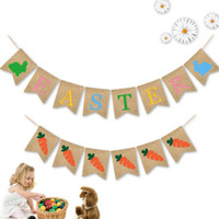 hausfahnen groihandel-2019 Ostern Flagge Party Dekoration Leinen Hängen Banner Farbige Kaninchen Karotten Ziehen Flaggen Wohnkultur Großhandel