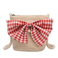 sac à bandoulière couleur bonbon achat en gros de-Xiniu Fashion Women Weave Sac de paille Plaid Bow Sacs à bandoulière Couleur Candy Sacs à bandoulière Designer Bolsa de ombro das mulheres # 30