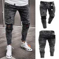 jeans furos joelhos venda por atacado-Calças de Brim Dos Homens de Neve Cinza Faísca Drapeado Lavado Longo Calças Lápis Moda Elastic Joelho Furos Zíper Jeans