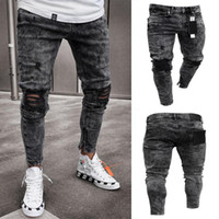 ingrosso drappeggiare jeans-Jeans uomo Snow Grey Spark Draped Washed Long Pencil Pants Ginocchia elastiche per jeans con cerniera