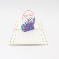 arte animal de papel venda por atacado-Páscoa 3D Cartão de Saudação Estéreo Artesanal de Papel Oco Cartões de Arte Presentes de Animais de Coelho Criativo Popular Fantasia 5zy A1