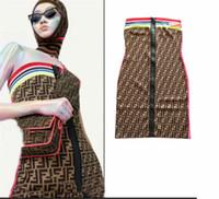 ingrosso vestiti arcobaleno da donna-Maglieria da donna Maglietta di alta qualità Rainbow Stripe cuciture jacquard lettere con cerniera per maglieria, body-shaping, pettorali da donna, abiti