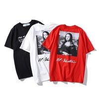 óleo camisetas venda por atacado-2019 início da primavera nova pintura a óleo Mona Lisa letras soltas de mangas curtas homens off casal meia-manga de algodão T-shirt.