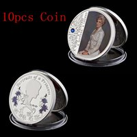 valores de prata venda por atacado-10pcs Free Shipping The Last Rose And Maçonry Queen Diana Silver Plated Commemorative Coin Collection Value