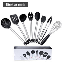 Wholesale stainless steel cookware for sale - Group buy 8pcs Stainless Steel Cookware Set Silicone Cookware Egg Beater Food Clip Colander Soup Spoon Scraper Spatula Kitchen Cooking Tool VT1679