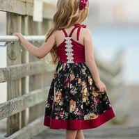 suspensórios 3t venda por atacado-Vestidos da menina Do Bebê moda Meninas roupas Vintage Floral Cauda Suspender irregular Vestidos 9 M 12 MM 2 T 3 T 4 T 5 T Atacado 2019 Primavera Verão