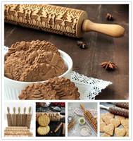 ingrosso torta da forno-Rilievo in legno Rullino in legno Impugnatura in legno Rullo Cuocere Strumenti per fondente Torta Crosta Biscotto Pasta Pasta Rullo Bakeware