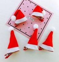 clips de sombrero rojo al por mayor-clips de Navidad roja de las horquillas de navidad sombrero Barrettes niños de los niños del pelo del casquillo de Headwear del tocado de las muchachas accesorios del pelo GGA2972