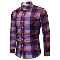 camisa causal do vestuário dos homens venda por atacado-Feitong Homens Camisa de Manga Longa Treliça Xadrez Pintura Patchwork Tops Blusa Causal Masculino Camisas de Vestido Camisa Masculina Plus Size