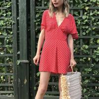 kırmızı polka nokta mini elbise toptan satış-Seksi Derin V Boyun Polka Dot Mini Elbise Yaz Kısa Kollu Tatil Plaj Elbise Kırmızı A-Line Vestidos