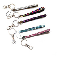 ingrosso cordini portachiavi-16cm short New Bling Rainbow Strass Lanyard Crystal neck strap Diamond Long Lanyard con portachiavi e clip Badge ID Holder