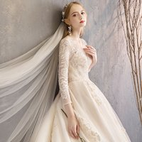 Wholesale ball gown tail wedding dress resale online - Stunning Jewel Neck Long Sleeve Wedding Dress Ball Gown Chic Lace Applique Bridal Dress Boho with Long Tail Wedding Gown Dress Bridal