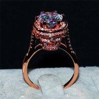vintage roségold diamantringe großhandel-Vintage 100% silod 925 Sterling Silverrose Gold Ring große 3CT simuliert Diamant Ring Finger Engagement Eheringe Ringe für Frauen