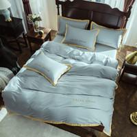 reina sábanas ajustables al por mayor-Juego de ropa de cama de algodón egipcio Reina de lujo tamaño king Juego de cama de bordado de alto grado Funda nórdica Sábana desplegable Hoja de ajuste