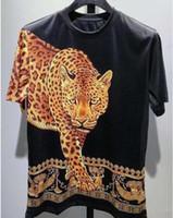 leopar desenli mens tişört toptan satış-Yaz Yeni Marka Casual Tee Erkek Leopar Baskı T Gömlek Erkekler Tops Moda Tee T-shirt Erkekler Hiphop Kısa Kollu Giyim