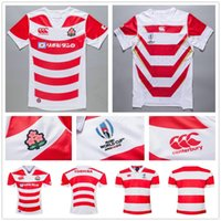 Wholesale wicking t shirts men best for sale – custom 2019 JAPAN RUGBY World Cup Jersey red and white color POLO collar T shirt best quality adult national rugby shirts