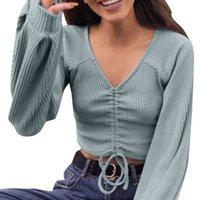 korece v boyun süveter kadınları toptan satış-ISHOWTIENDA Kore Tarzı Kadın Kazak Moda Kış Uzun kollu Bayan Kazak V Yaka Kısa İpli Üst Bluz Çekin Femme