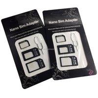 Wholesale standard iphone for sale – best 4in1 Micro Nano SIM Card Adapter Connector Convert SIM Card To Micro Standard Adaptor for IPhone Plus Huawei P8 Xiaomi V8 Phone