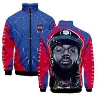 casacos de impressão 3d venda por atacado-Homem Jaqueta Primavera 2019 NIPSEY HUSSLE Rip Zíper Streetwear Gola Moda 3D Impressão Roupas Casacos de Hip Hop Roupas Casuais