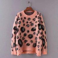 sueter mohair rosa al por mayor-2019 nueva moda popular Yueyige WF23-52 Mohair manga larga suelta Pink Leopard suéter de punto con cuello redondo