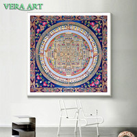 Wholesale wall art buddha painting resale online - Tibet Thangka Abstract Art Painting Posters And Prints Canvas Flower Decor Tibetan Mandala Buddha Oil Canvas Art Painting Wall