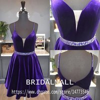 Wholesale blue short sexy prom dresses resale online - Princess Beaded Crystals Purple Velvet Short Prom Dresses Spaghetti Straps Cocktail Party Gowns Backless Homecoming Graduation Dress