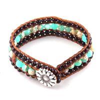 Wholesale stone cuff bracelet resale online - Fashion Beautiful Energy Cuff Beaded Bracelet Handmade Natural Stone Wrap Bracelets Bangles Drop Ship