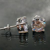серьги из глины оптовых-18 карат золото хип хоп обледенелый CZ цирконий круглые серьги стержня 0.4 0.6 0.8 см для мужчин и женщин алмазные серьги шпильки рок рэпер ювелирные изделия подарки