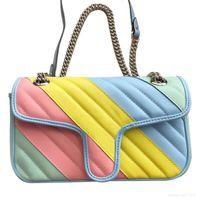 Wholesale rainbow color handbags resale online - Women Handbags Rainbow Classic Bag Wave Pattern Single Shoulder Diagonal Chain Female Bag Color Letter Flip Chain Bag cmX15cmX7cm Type5